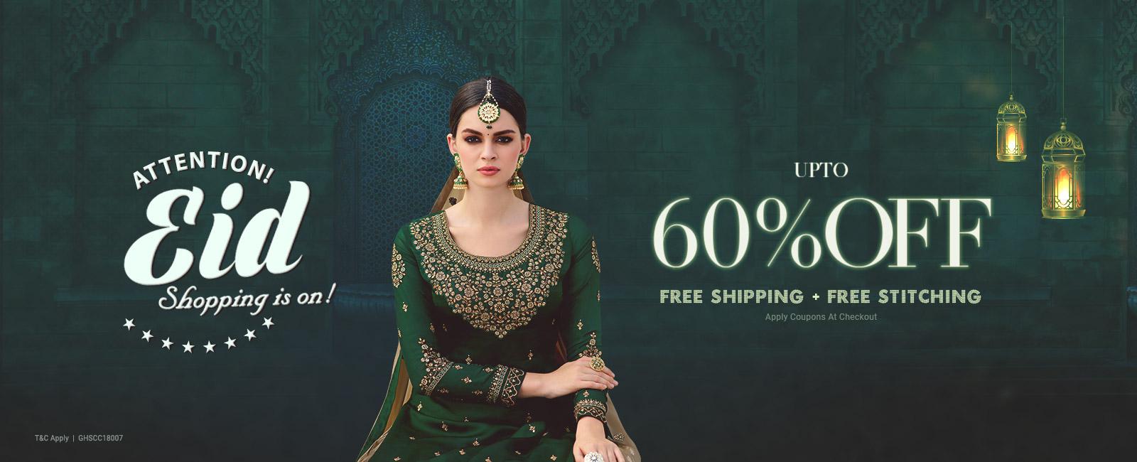 Upto 60% off + Free shipping & stitching