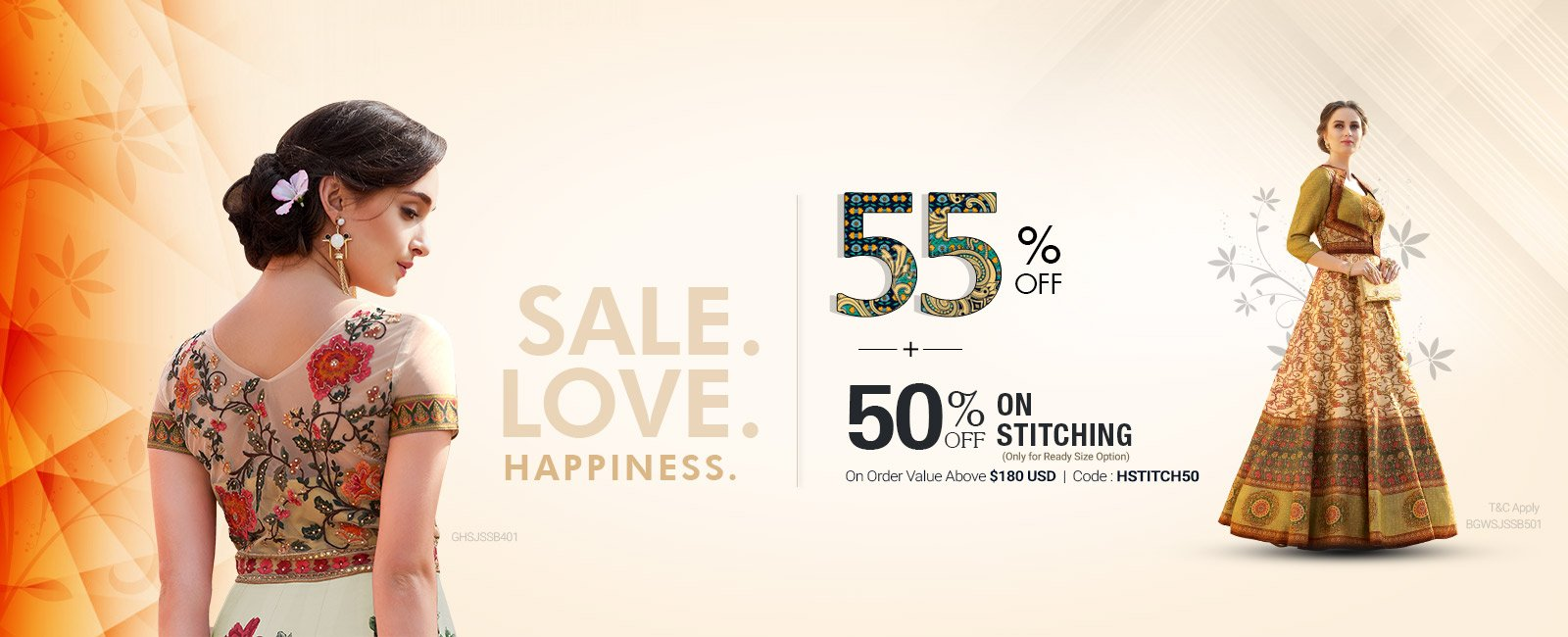 55% Off + Extra 10 %+50% Off on Stitching