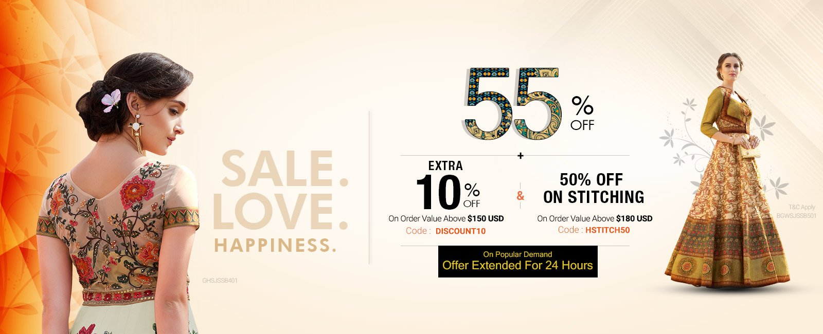 60% off + Free shipping +50% Off on  Stitching