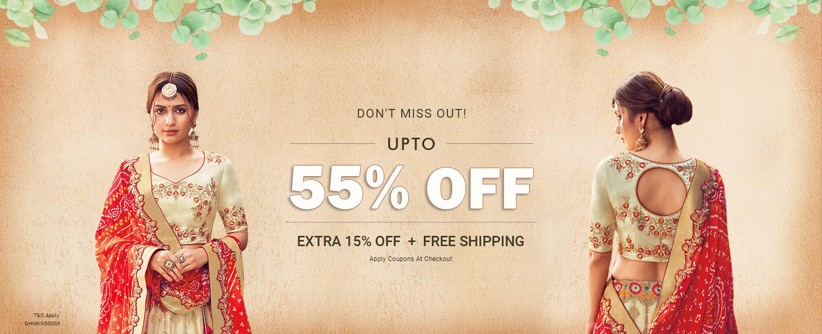 Upto 55% off + Extra 15% off + Free shipping