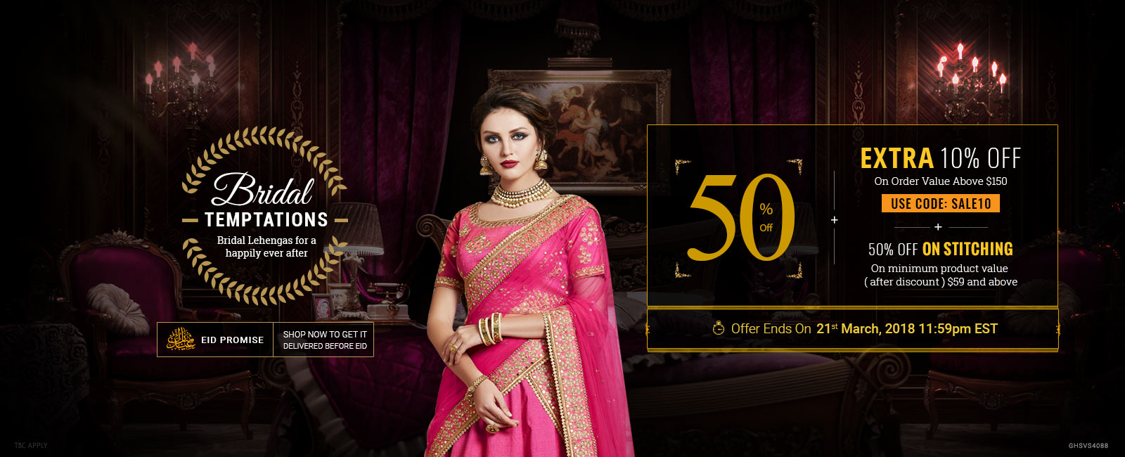 50% Off + Extra 10% Off + 50% Off on Stitching
