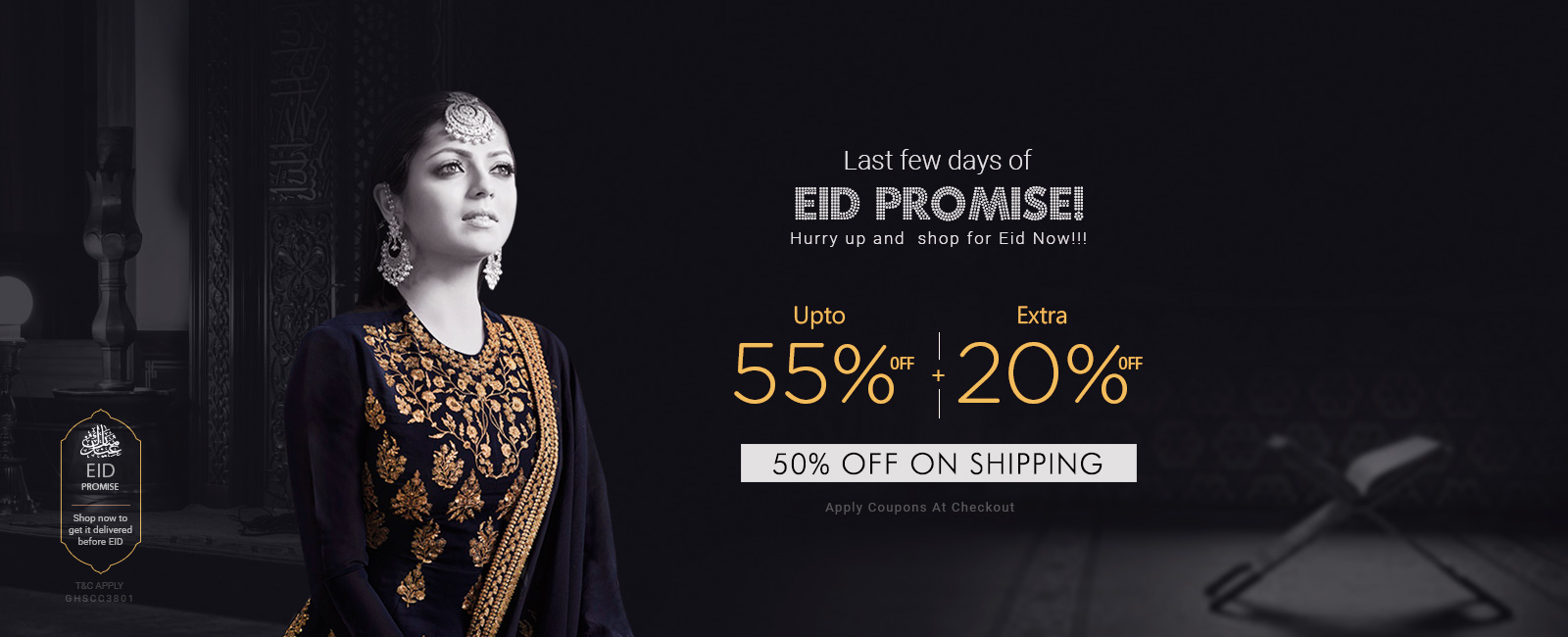 Upto 55% off + + Extra 20% off + 50% off on Shipping