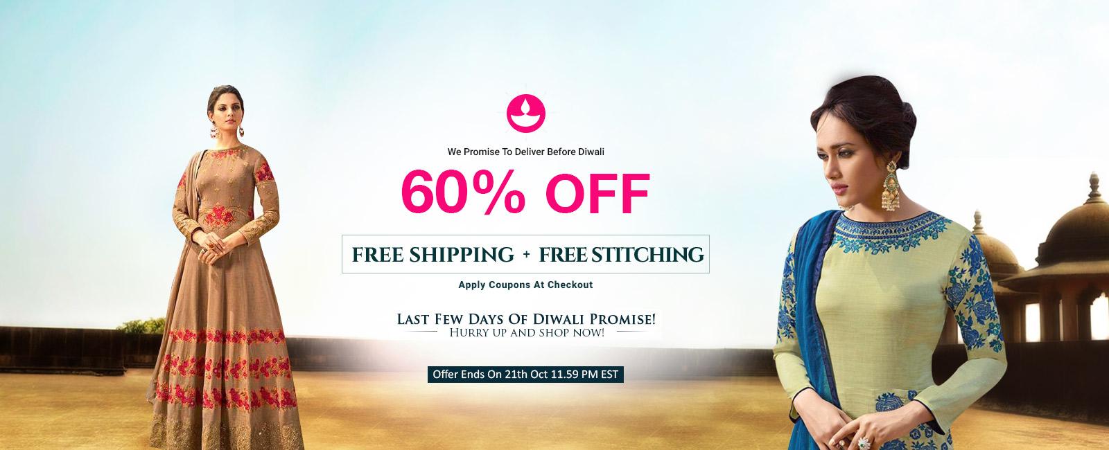 60% Off +  Free Stitching + Free Shipping