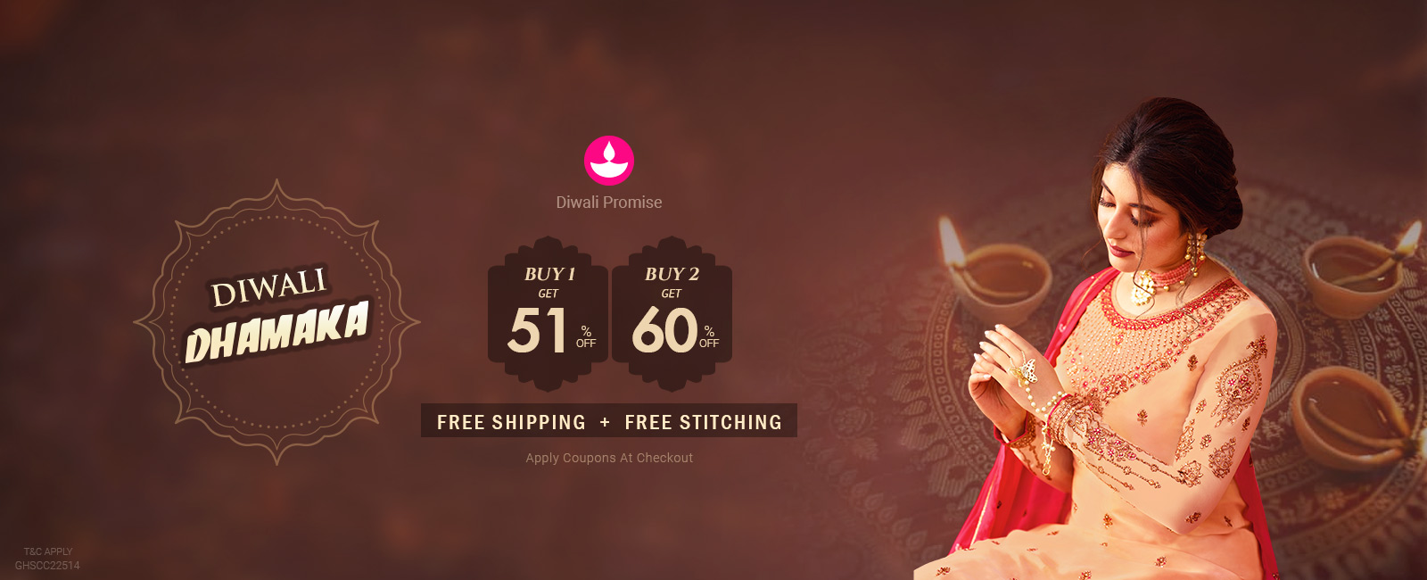 Buy 2 At 60 % off + Free Shipping +Free Stitching