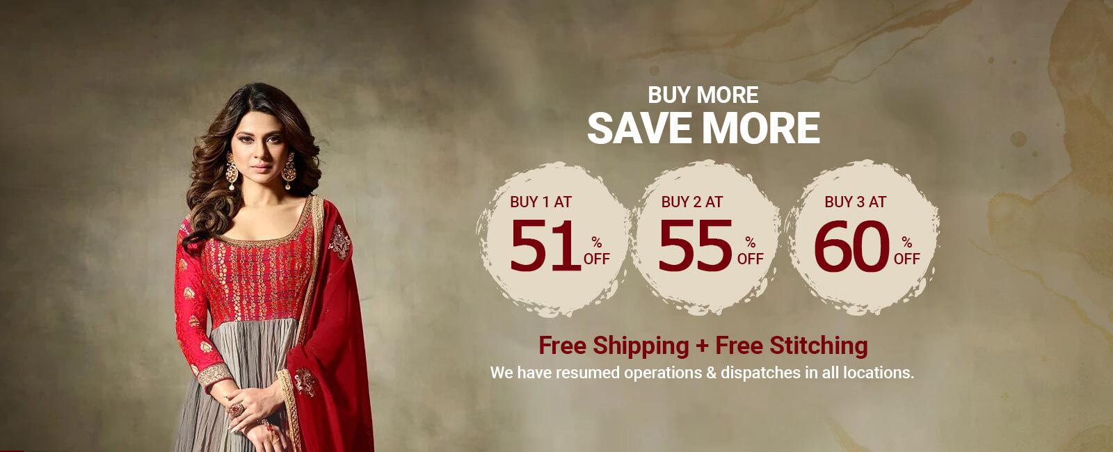 Buy3 at 60%,Buy 2 at 55% ,Buy 1 at 51% off + Free shipping & stitching