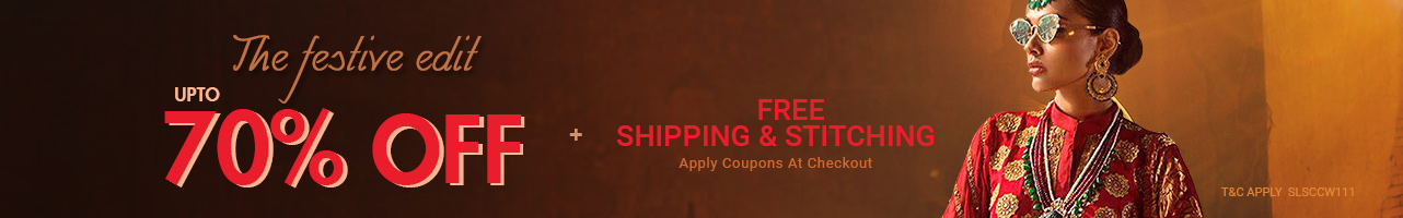 Upto 70% off + Free shipping & stitching