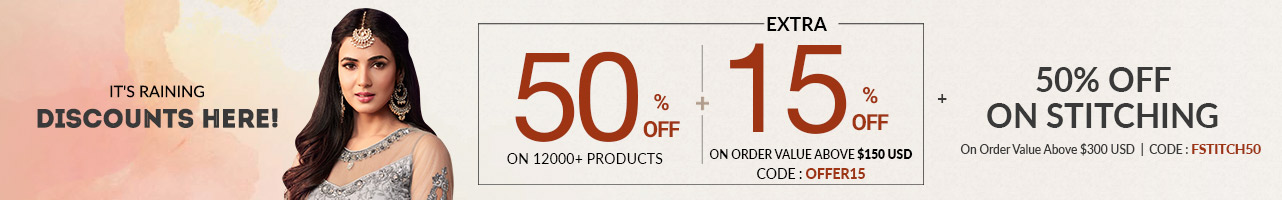 50% Off + Extra 15% OFF + 50% OFF On Stitching