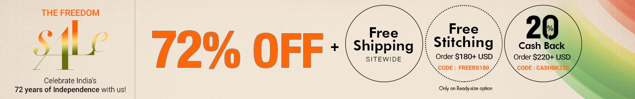 72% off + Free Shipping + Free Stitching
