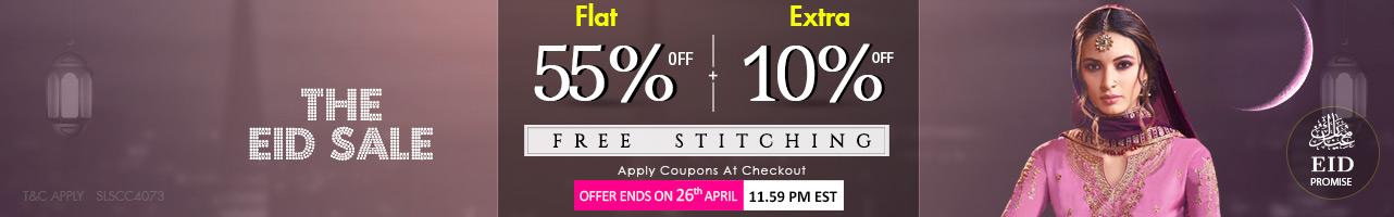 Flat 55% + Extra 10% off + Free Stitching