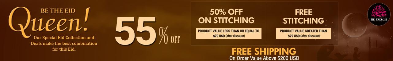 55% Off + 50% Off on Stitching + Free Stitching + Free Shipping