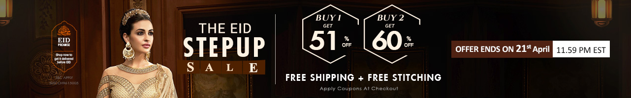 Stepup Sale Buy 1 Get 51% ,Buy 2 Get Flat 60%+ Free Shipping + Free Stitching