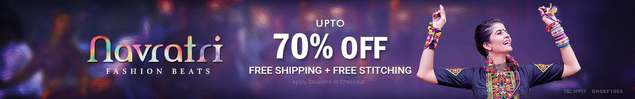 Upto 70 % off + Free Shipping + Free Stitching