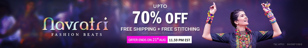 Upto 70 % off + Free Shipping + Free Stitching