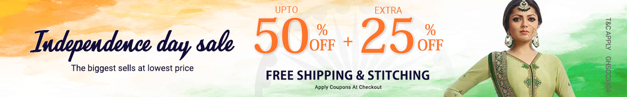 Upto 50% off +Extra 25% off + Free shipping & stitching