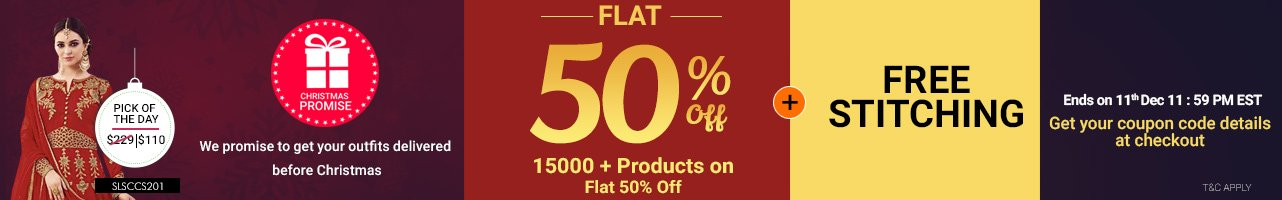Flat 50% Off + Free customization