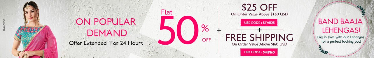 Flat 50% Off + 25$ Off + Free Shipping
