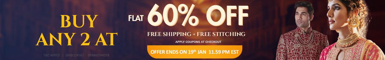 Buy 2 At Flat 60% off + Free shipping + Free stitching