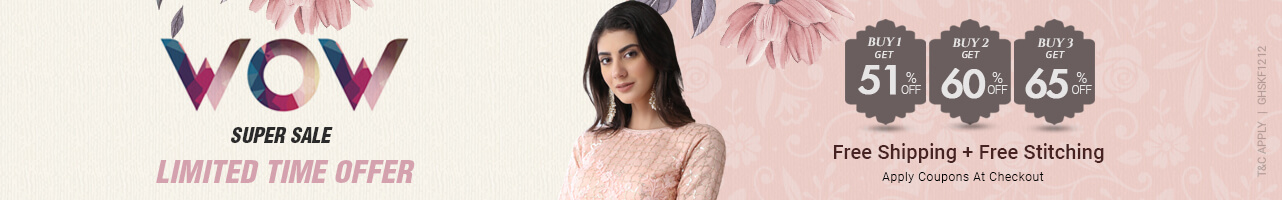 Buy 3 At Flat 65% off + Free shipping + Free stitching