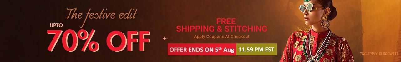 Upto 70% off + Free shipping & stitching