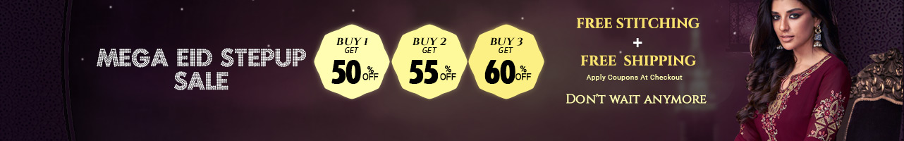 Buy 1@ 50% off ,Buy 2 @ 55% off , Buy 3 @ 60%off + Free shipping & stitching
