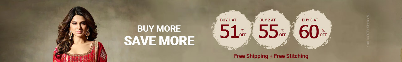 Buy3 at 60%,Buy 2 at 55% ,Buy 1 at 51% off + Free shipping & stitching