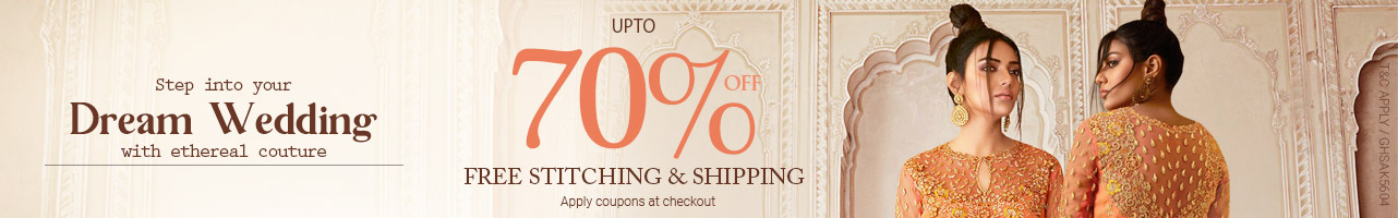 Upto 70% off +  Free shipping and stitching