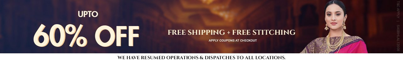 Upto 60% off + Free shipping + stitching