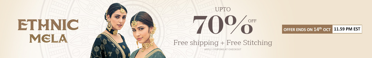Upto 70% off + Free Shipping + Free Stitching