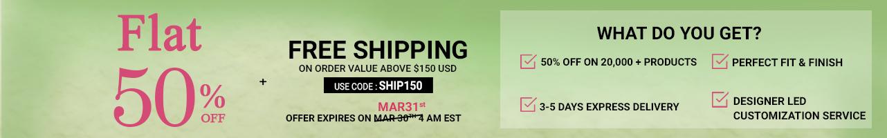 Flat 50% + Free Shipping